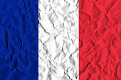 France Crisis Concept: Crumpled Paper French Flag