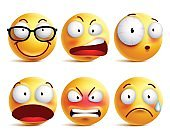 Smiley face or emoticons vector set with facial expressions