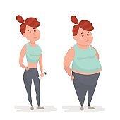 Fat and slim girls. Fat loss concept. Vector illustration