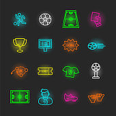 soccer neon icon set