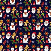 Christmas pattern snowflake winter holiday vector illustration fir tree snowman design season