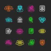 law neon icon set