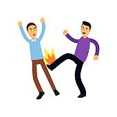Cartoon illustration of aggressive bully in high kick pose beats weak man. Bad and violent behavior