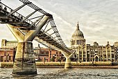Millennium bridge with st.pauls cathedral in the background, London