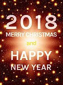 Happy 2018 New Year Flyer. Christmas Greeting Card
