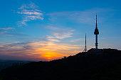 Sunset at Namsan Tower in Seoul,South Korea