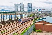 Seoul Subway train traffic in Seoul City,South Korea.