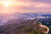 Sunrise at Seoul City Skyline, The best view of South Korea.