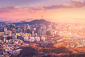 Sunset at Seoul City Skyline, The best view of South Korea.