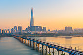 sunset at Seoul City and Lotte Tower,South Korea