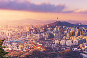 Sunset of Seoul City Skyline, The best view of South Korea.