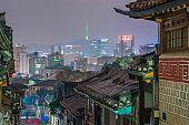 Bukchon hanok village in Seoul City at night,South Korea