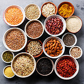 Superfoods and cereals selection in bowls