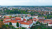 Aerial view of the Old Town architecture with red roofs in Prague , Czech Republic. Vltava river. old town panorama , Czech republic.