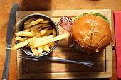 Burger and fries at a restaurant