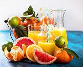 Citrus vitamin juice, healthy drink with fresh fruits. Refreshing lemonade