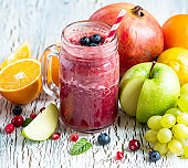 Berry and fruit smoothie, healthy detox vitamin iet or vegan food concept