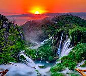 sunrise over the waterfall in Plitvice ,Croatia