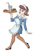 Cartoon image of Retro Pin Up painting of a 1950 waitress hold