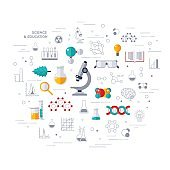 Concept of education and science with microscope