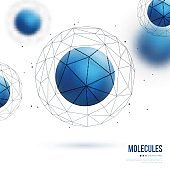 Abstract molecular structure with blue particle