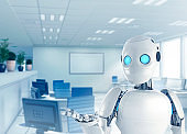 Modern Office Room And Robot