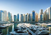 Dubai Marina at sunset, United Arab Emirates