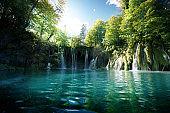 Waterfall in forest,  Plitvice, Croatia