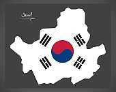 Seoul map with South Korean national flag illustration
