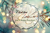 Christmas Greeting Card With Handwriting Elements
