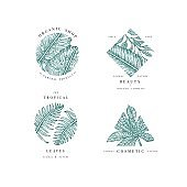 Simple icon collection. Engraved set. Tropical beauty salon symbols. Vector illustration