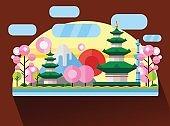 China, Japan. Colorful flat illustration
