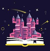 Imagination concept with opened book pink castle. Fairy, magical adventure boo