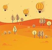 Flat autumn nature landscape illustration. Colorful vector