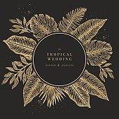 Tropical palm leaves. Jungle round wedding invitation. Design template. Vector illustration