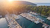 Sailing boats in medierranean marina, Palmizana, Croatia.