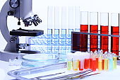 Set of Research and Development Kit, medial tools and scientist equipment