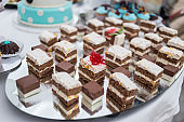 Candy Bar. Delicious sweet buffet with cupcakes. Sweet holiday buffet with cupcakes and other desserts.Table with sweets, candies, dessert,happy birthday concept