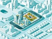City isometric plan with road and buildings on smart phone. Map on mobile application. 3d vector illustration.