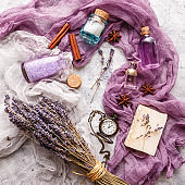 Lavender background. Spa and perfume theme