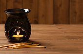 Aroma Lamp With Burning Candle. Aromatherapy. Spa Room.
