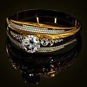 Engagement gold ring with jewelry gem.