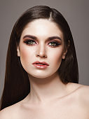 Beautiful woman with cat-eye make-up