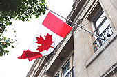 Flag flowing in the wind of the Canada House in England