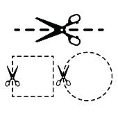 Vector dotted lines with scissors icons set