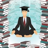 Business education. Businessman meditating in lotus position, surrounded by books. Vector
