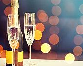 Champagne background. New Year Eve celebration
