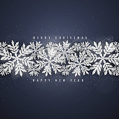 Christmas silver glittering snowflakes background