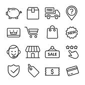 Shopping and Retail Icons Set - Line Series