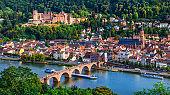 Landmarks and beautiful towns of Germany - medieval  Heidelberg ,view with Karl Theodor bridge